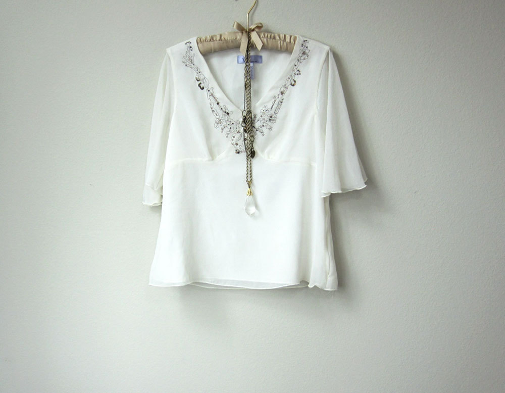 915a70662d4 Flowy Boho Gypsy Embellished and Embroidered Chiffon Short Sleeve Sheer  White Blouse