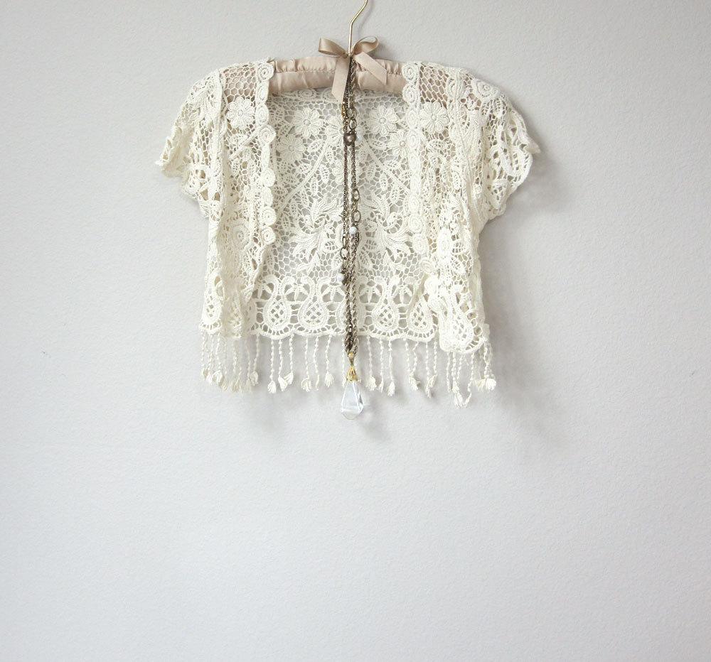 ba198c840c9b1 Beautiful Ivory White Crochet Short Sleeve Capelet, Cover Up Jacket, Vest  with Fringe,