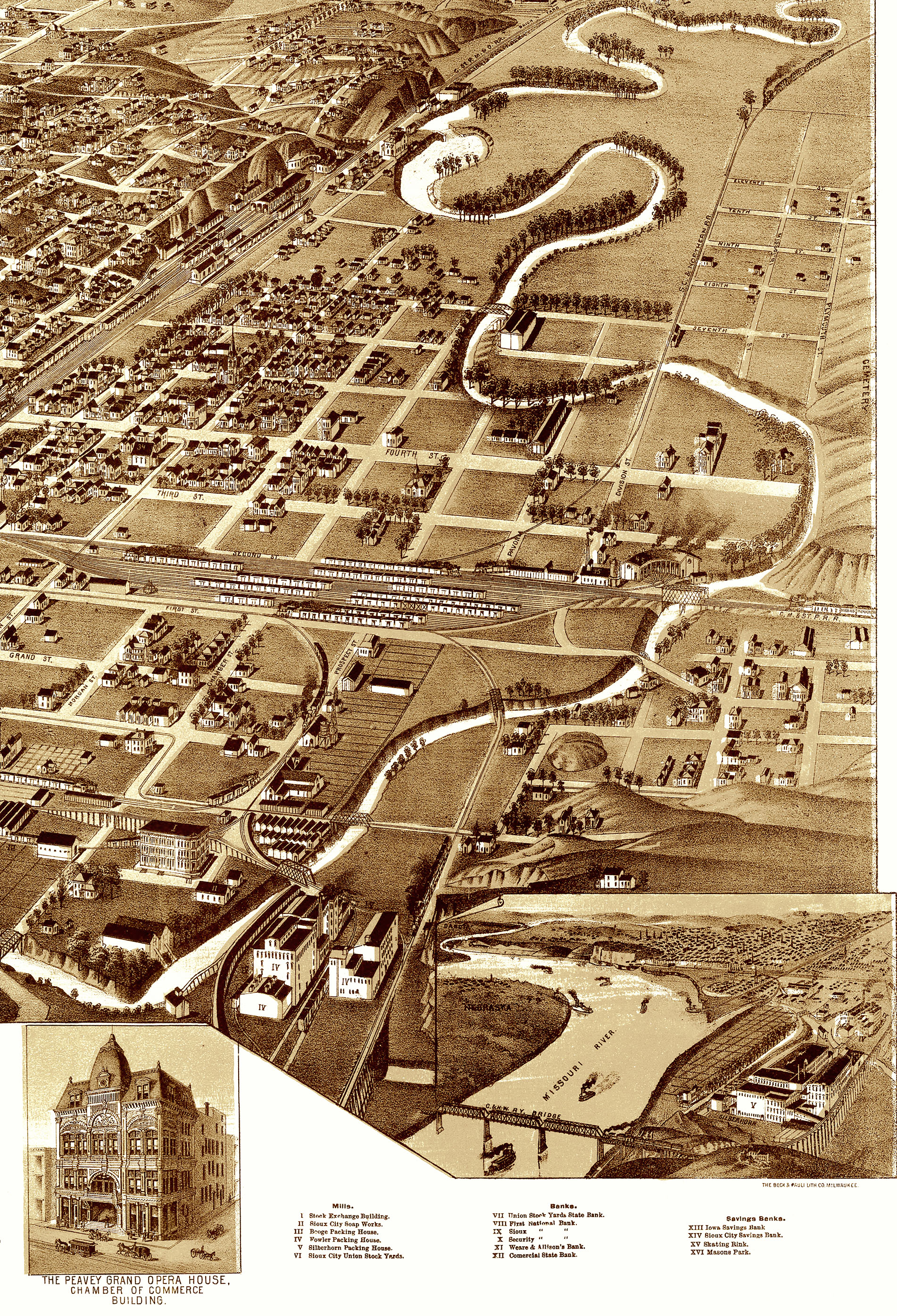 Sioux City Iowa In Birds Eye View Aerial Map Panorama - Vintage iowa map