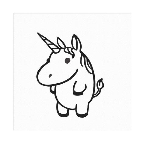 Fat Cartoon Unicorn Vinyl Decal On Storenvy