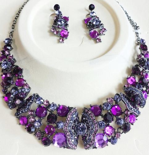 Purple Crystal Necklace Amp Earrings 183 Two Angel Designs