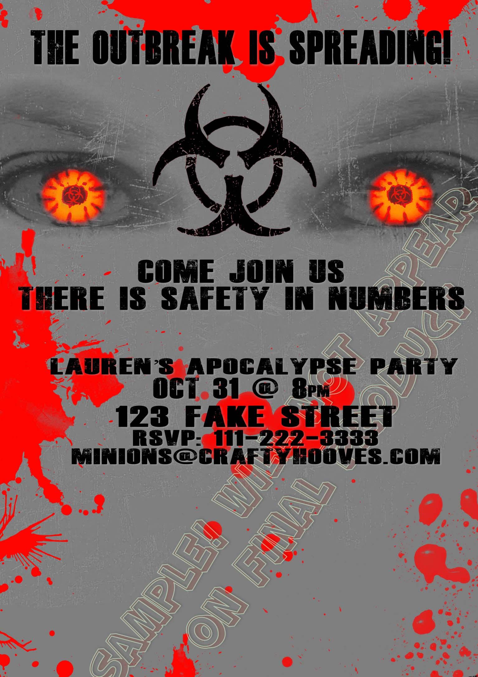 Zombie Apocalypse Grey Outbreak 28 Days Party Invitations U-Print ...