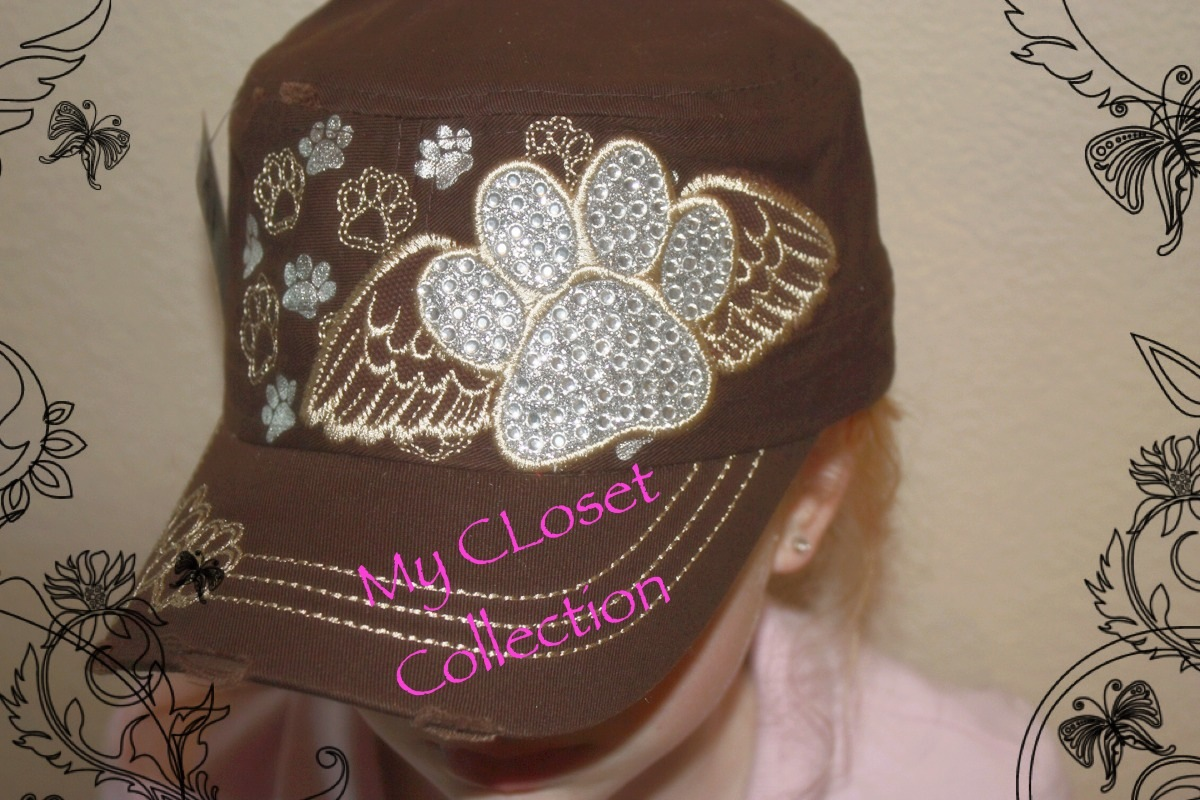 72277e46ce1 Cadet hat with rhinestone paw print and wings · CAF Closet ...