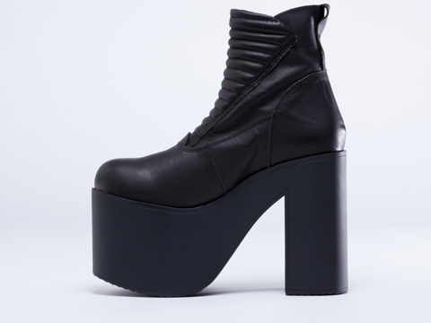 Unif Neo Platform Boots In Black Leather Discoqueen At Storenvy