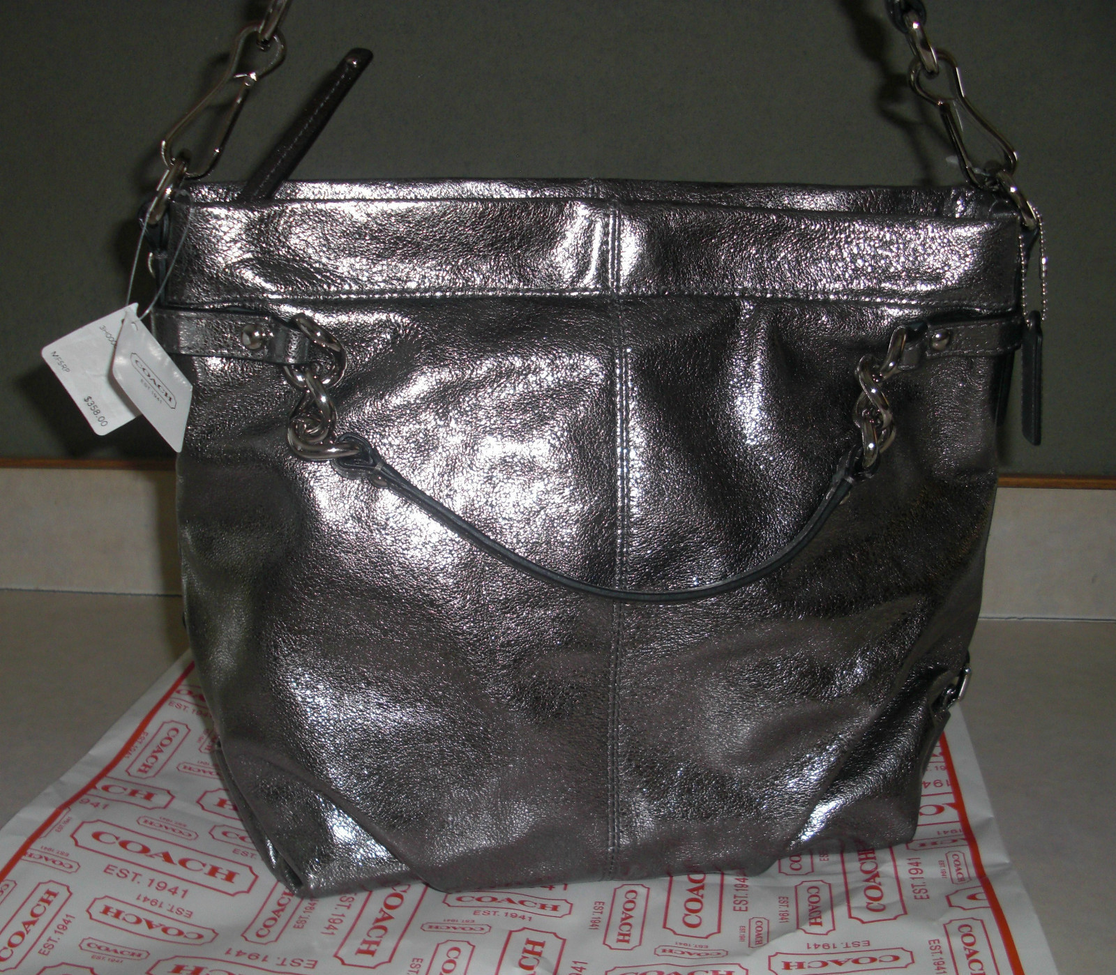 217255db74 COACH Leather SILVER Pewter Metallic  358 on Storenvy