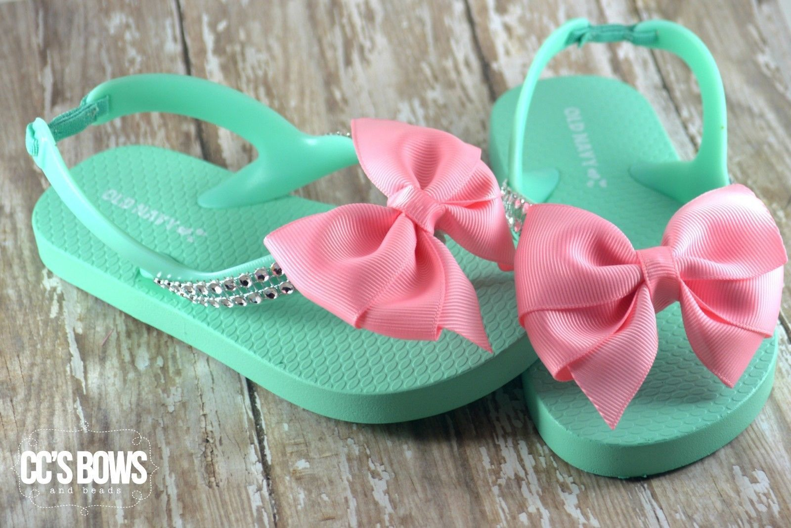 eb3c165444b1 Girls Toddlers Mint Green Old Navy Flip Flops Pink Boutique Bow ...