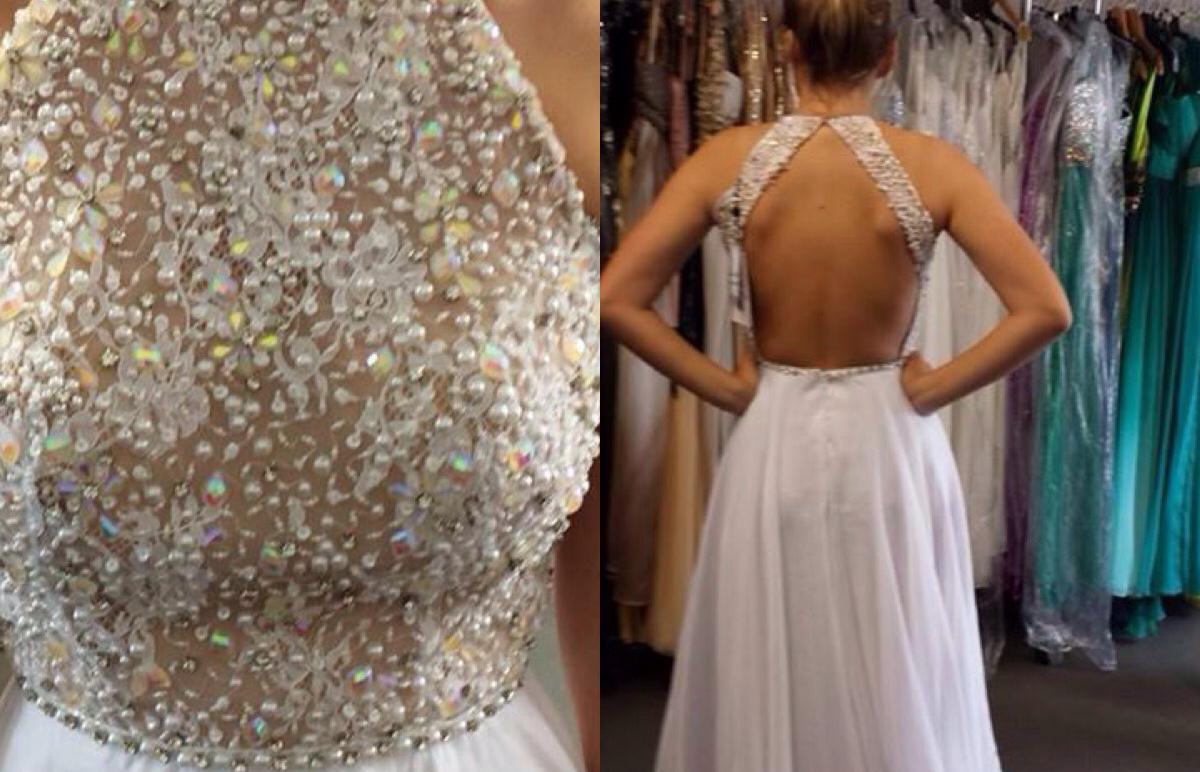 A-line High Neck Open Back Ivory Chiffon Skirt Beaded Bodice Prom ...