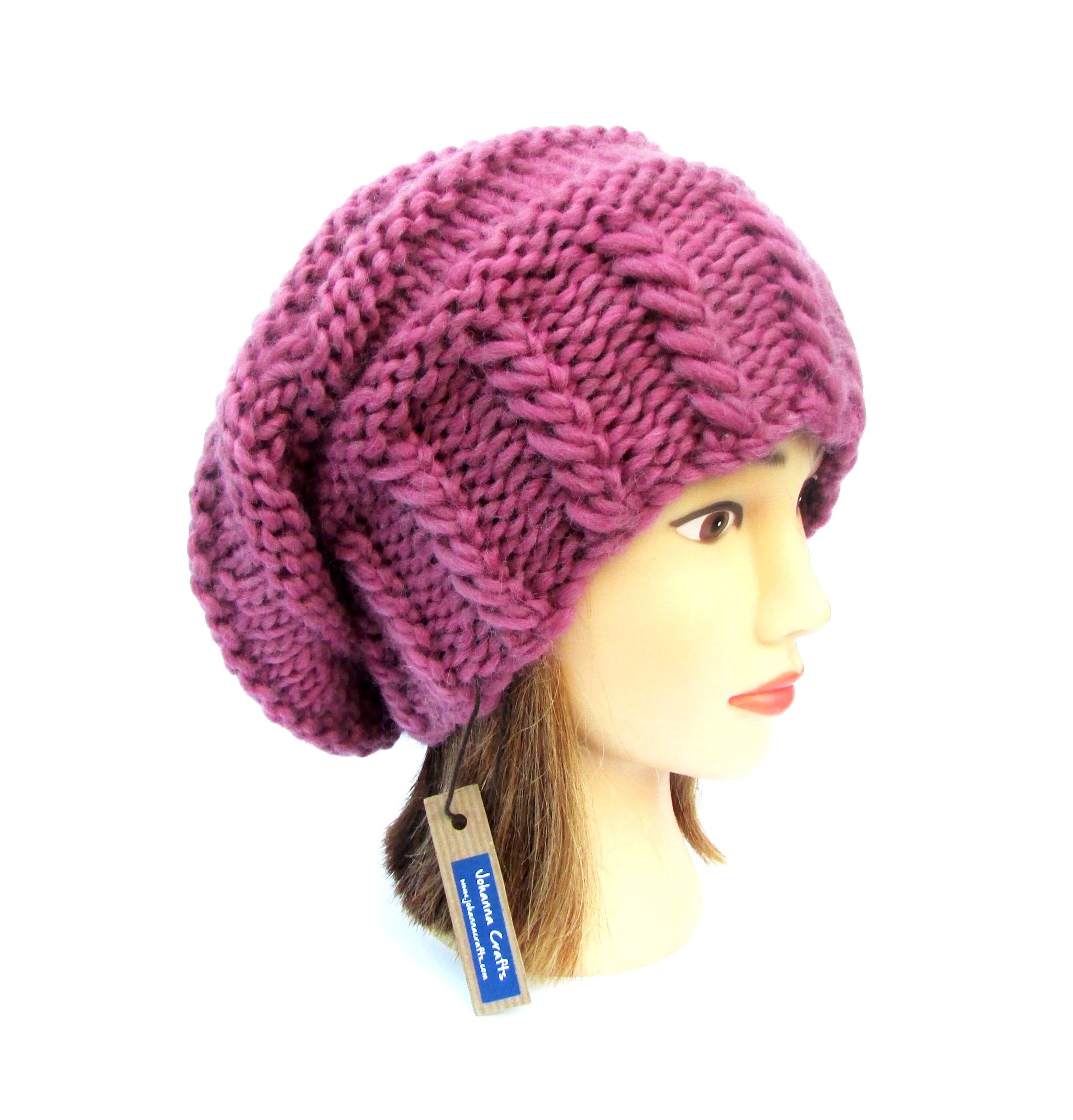 2a8d5409 Slouchy beanie hat old pink slouch hat chunky knit slouchy hat Irish knit  accessories for women warm winter hat wool birthday gift