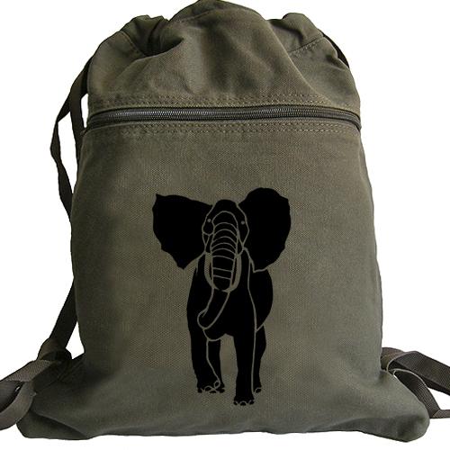 African Elephant Backpack - Canvas Drawstring Book Bag - Thumbnail 1 ... 5418049bf15ba