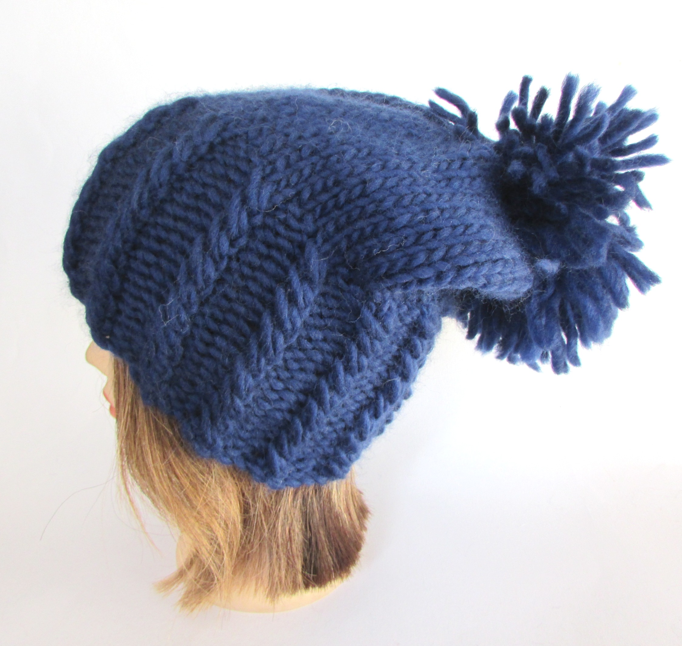 59ae5acf6 Irish hand knit navy blue hat with large pom pom - chunky knit fun slouchy  beanie hat - warm wool knit beanie hat - Irish knitwear by Johanna Crafts