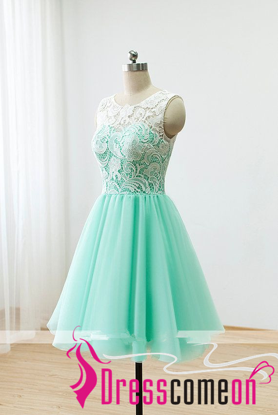 Short Lace Prom Dresses 2016 Ball Gown Mint Green Bridesmaid Dresses ...
