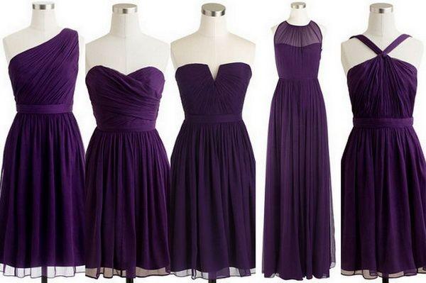 Mismatched Bridesmaid Dress Dark Purple Bridesmaid Dress Short