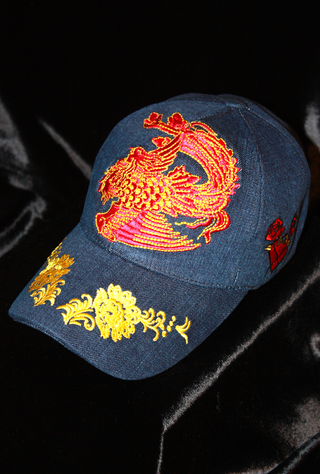 90a167615 Denim Baseball Cap Shanghai Flower Glam Rock Rebel Chic Women Hat from  Charles King Paris