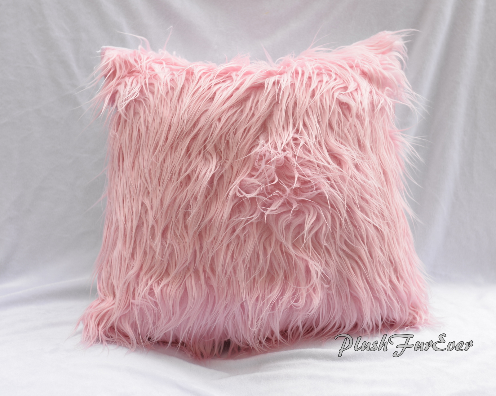 Light Pink Faux Fur Home Decor Pillows 18 X 18 Inserts Included Mongolian Frost Fur Sofa Bed Couch Luxury Fur Decor Sold By Plushfurever