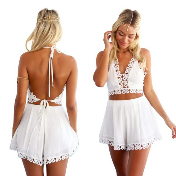 6645102db7f Cute hollow out lace two piece romper · kslademade · Online Store ...