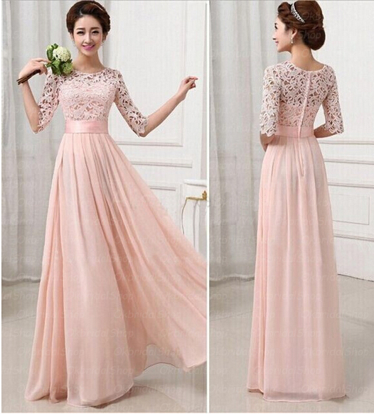 Lace Chiffon Bridesmaid Gowns
