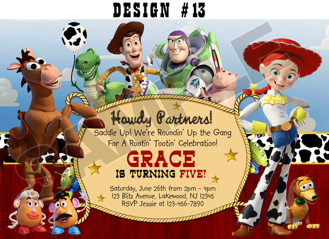 Toy Story 1 2 3 Birthday Party Photo Invitations Rodeo Cowboy Western