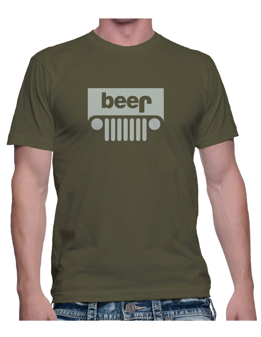 928747915 Adult Funny JEEP BEER Logo T-shirt • College Drinking Tee • Military ...