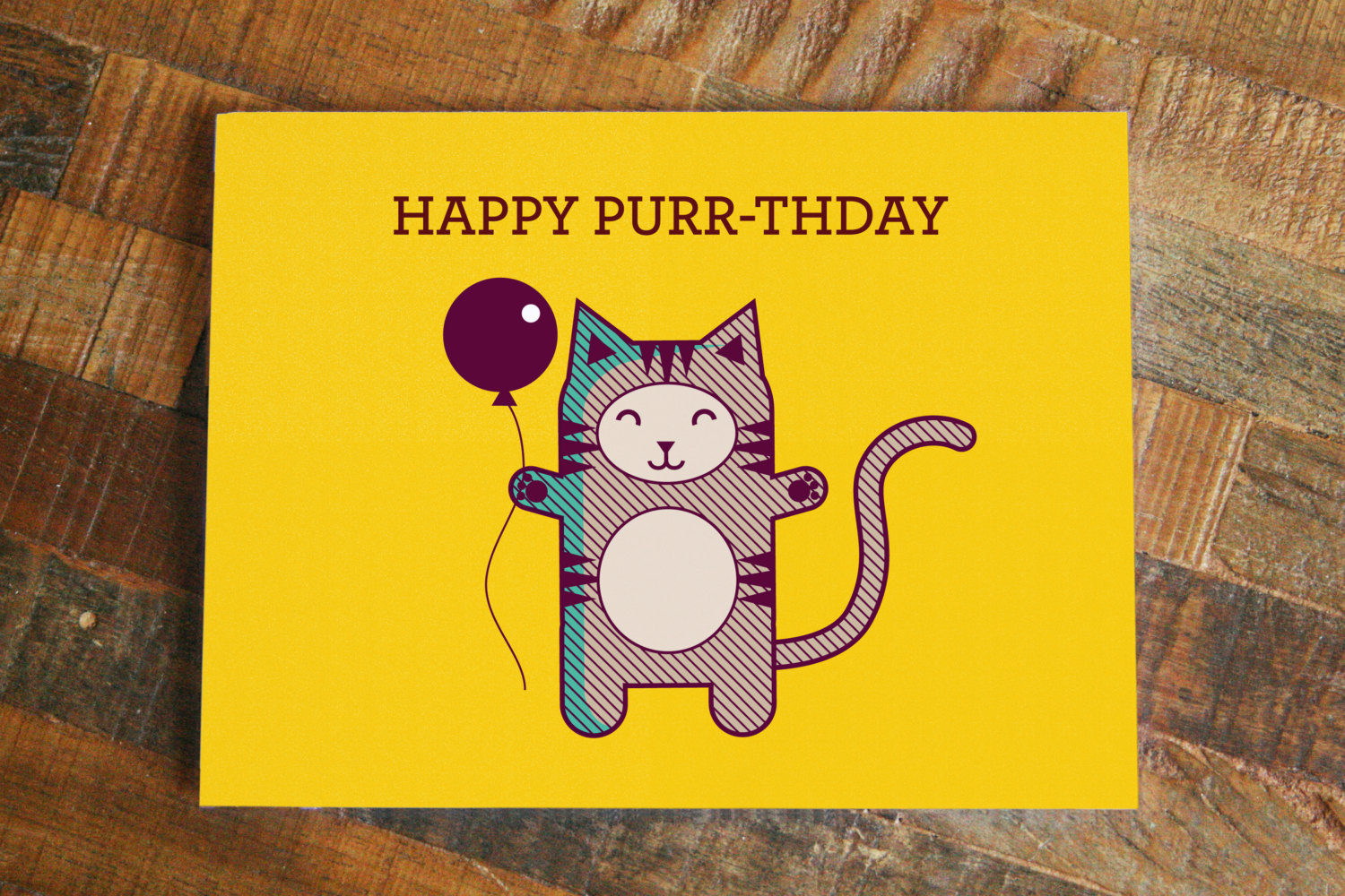 Cat Pun Birthday Card Happy Purr Thday Funny Card Cute Cat Card