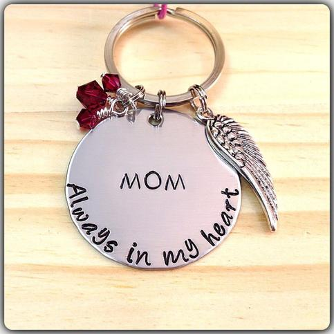 Hand Stamped Key Chain Always In My Heart Angel Wing Charm