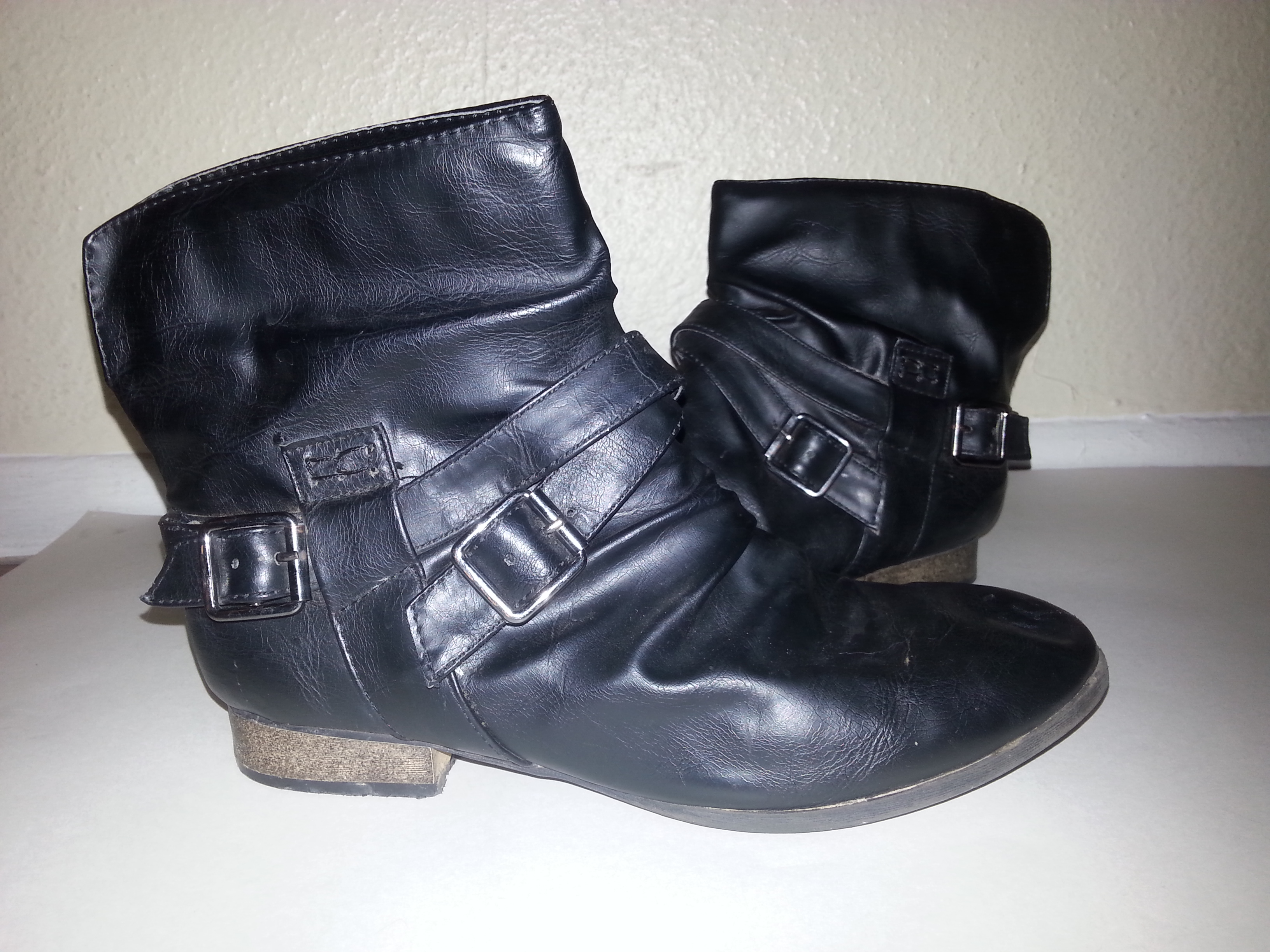 Black Pleather Faux Leather Ankle Boots