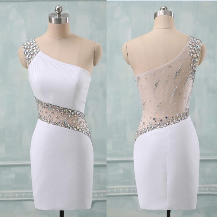 Top Selling One Shoulder White Sheath See Through Back Short Prom ...