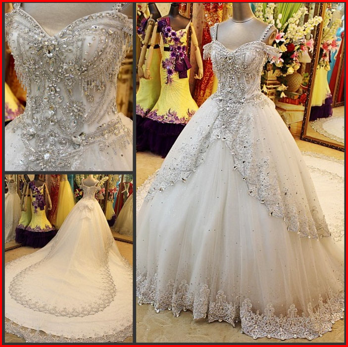 YZ New Arrival Sweetheart Tulle Luxury Crystal Appliques Wedding ...