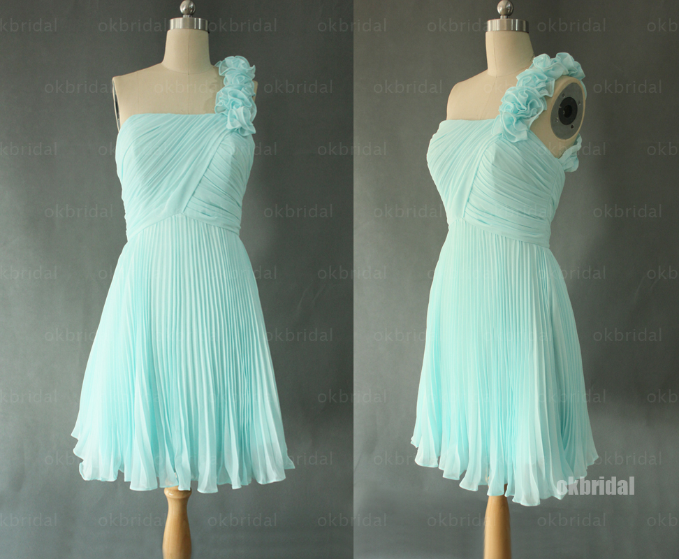 Cheap Wedding Dresses With Color: Tiffany Blue Bridesmaid Dresses, One Shoulder Bridesmaid
