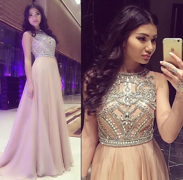A Line Scoop Prom Dress