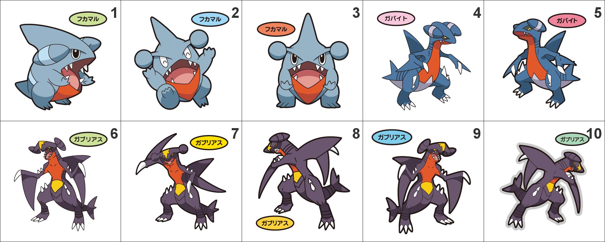 Gible Toy: 443, 444, 445 Gible, Gabite, Garchomp Pan Stickers Pokemon