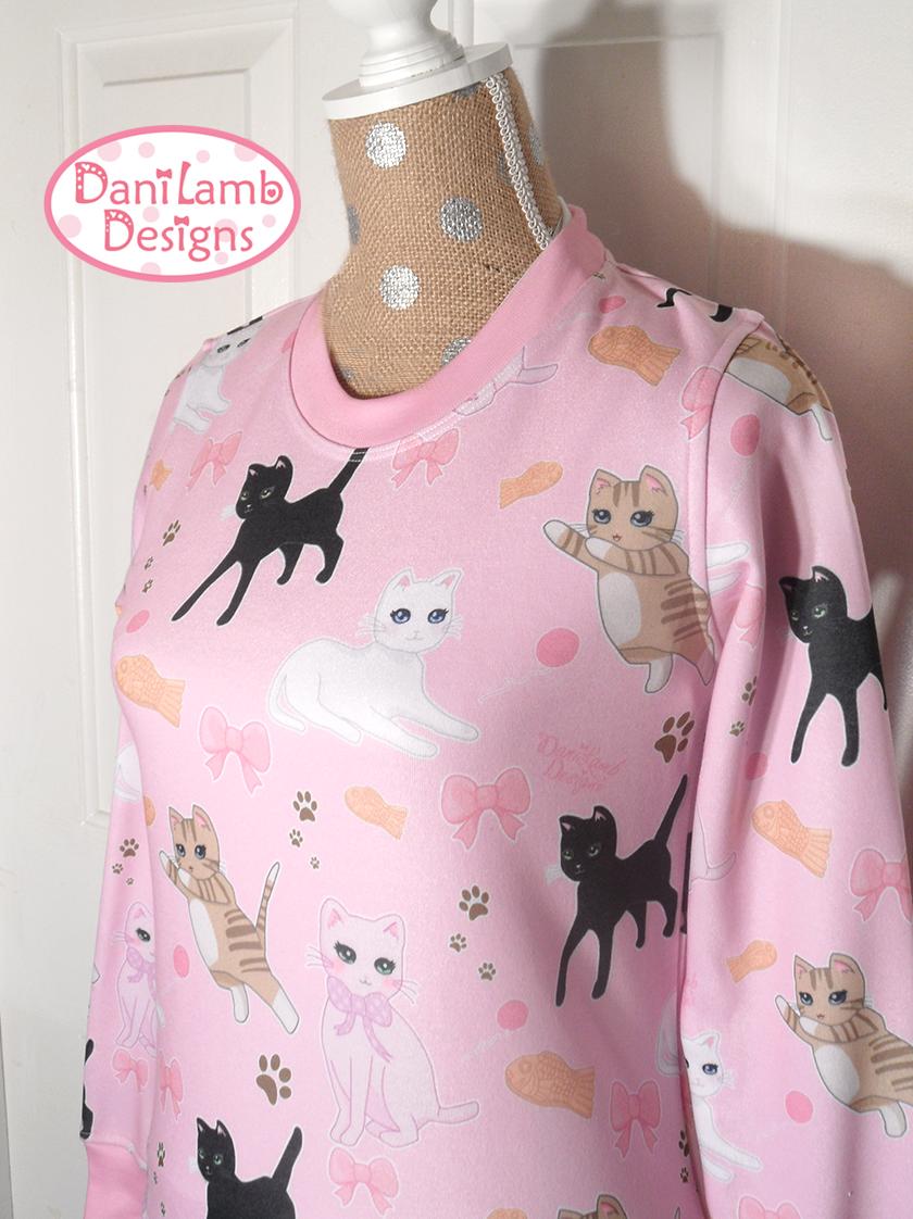 Kawaii Cat Sweater Fairy Kei Cat Sweatshirt Pastel Cat