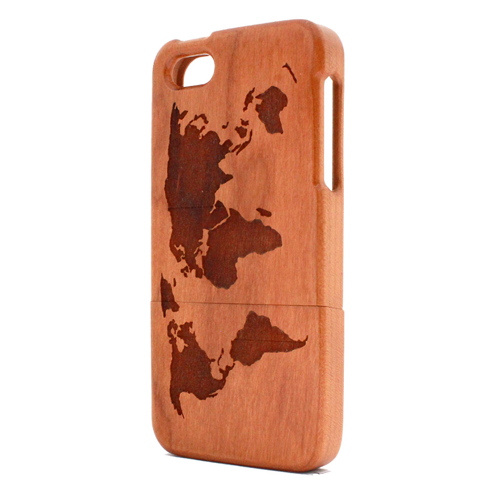 half off 7e56e 69d04 iPhone 5 World Map Engraved Cherry Wood Phone Cases