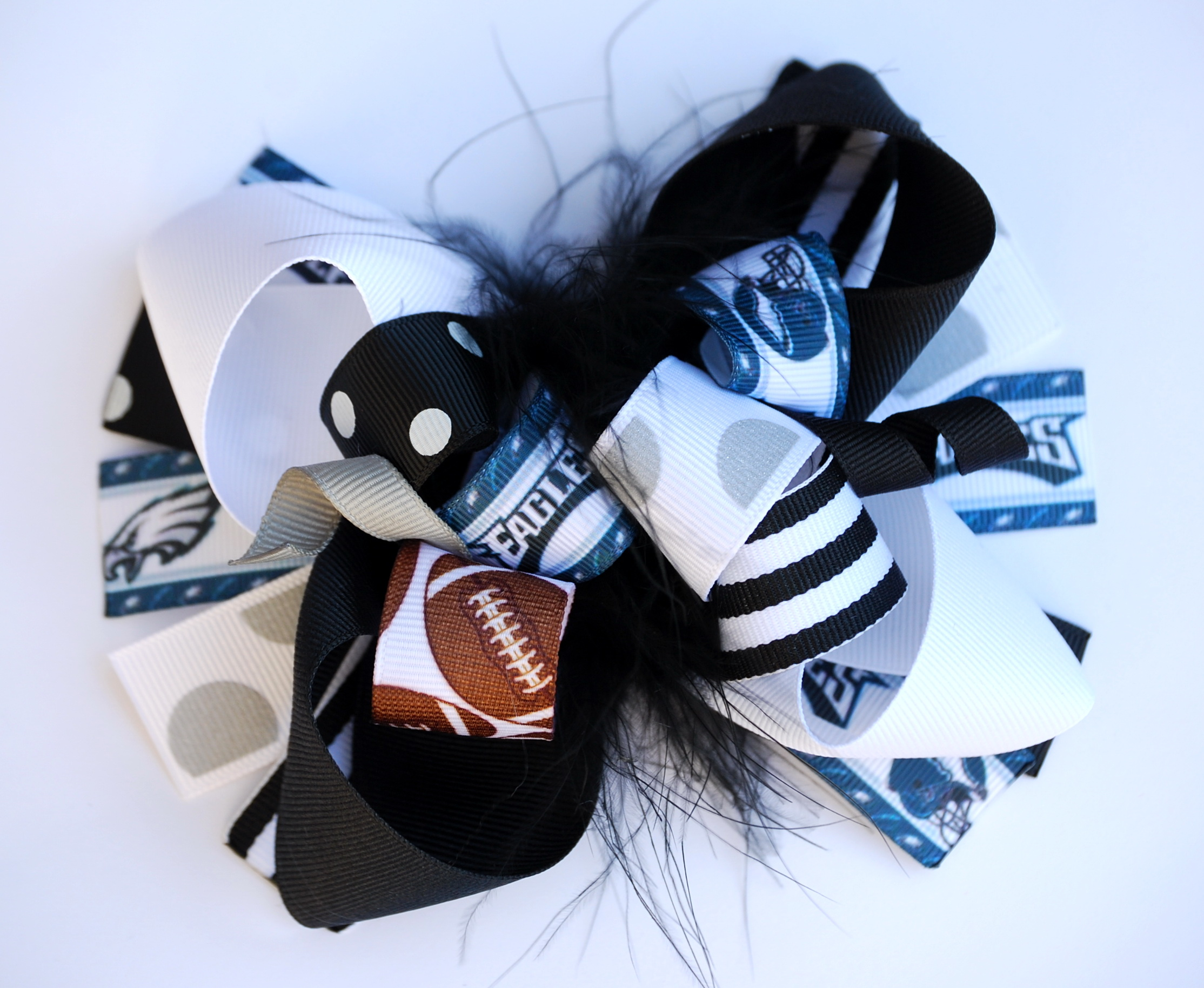 boutique PHILADELPHIA EAGLES baby or girls funky fun over the top hair bow  on a clip 47c2cfc8681