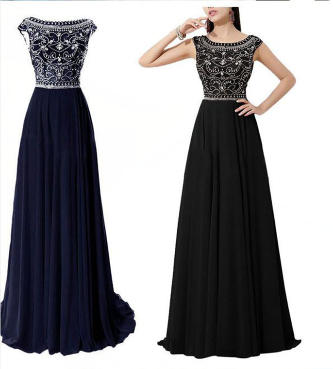 a3b4884759f2 Dramatic Vintage Cap Sleeves Navy Blue Long Prom Dresses With Flowing  Chiffon Skirt Custom Made Black