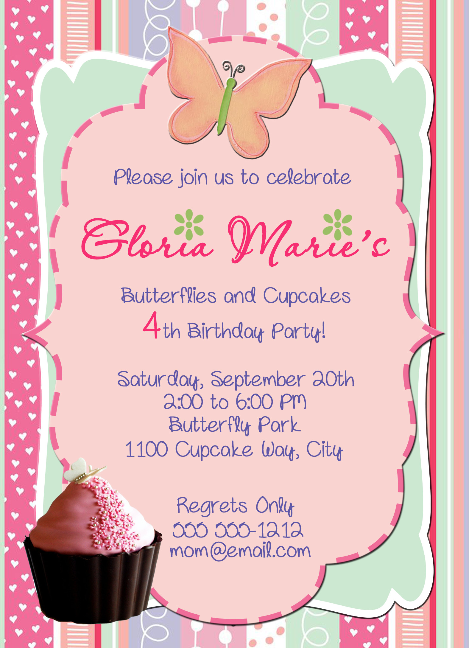 Cupcakes personalized birthday invitation 1 sided birthday card cupcakes personalized birthday invitation 1 sided birthday card party invitation cupcake party filmwisefo