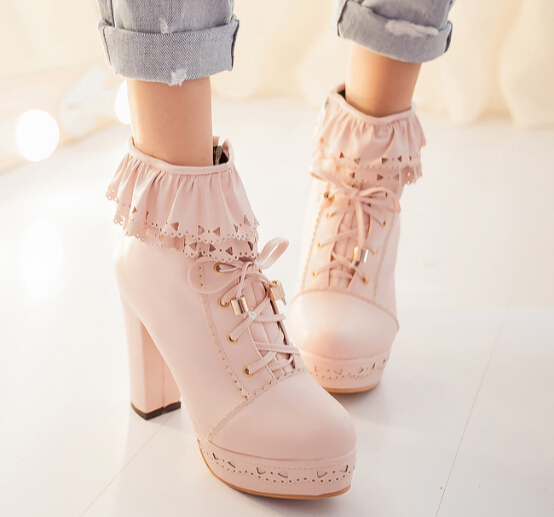 Japanese Sweet Lolita Falbala High Heeled Boots 183 Fashion