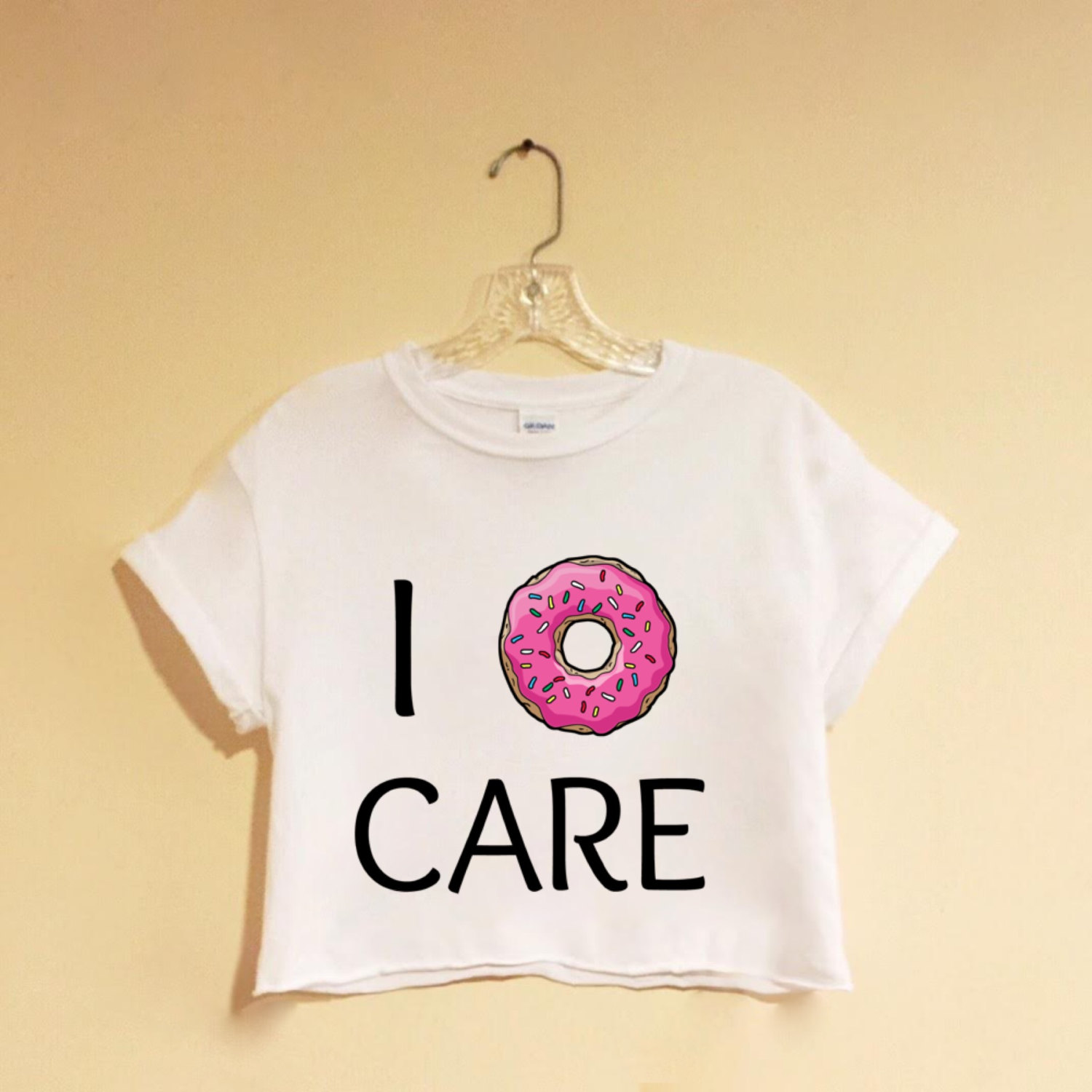 6a103ef6adbf0 I Donghnut Care - White Crop Top - Screen Printed - Hipster - Tumblr ...
