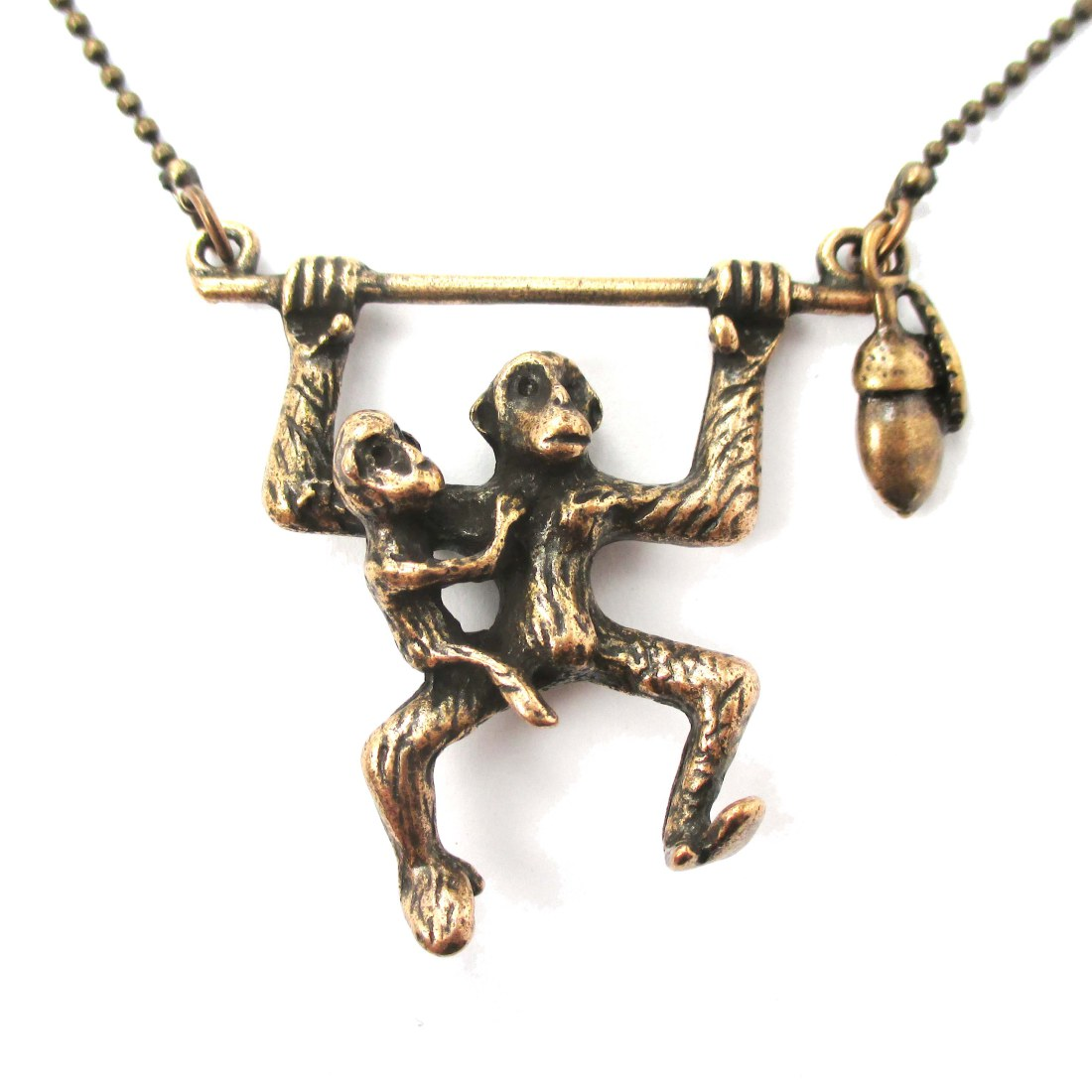 3d Monkey Mother And Baby Shaped Animal Pendant Necklace