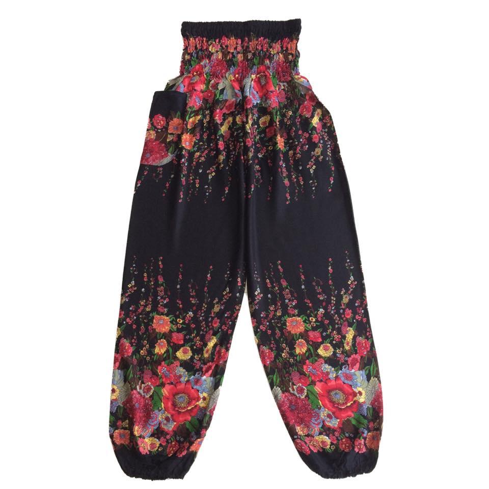 Black Flower Vine Baggy Harem Hippie Yoga Pants, One Size