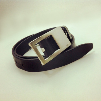 ... Gucci silver-buckled black leather belt (s) 7e5218d003850