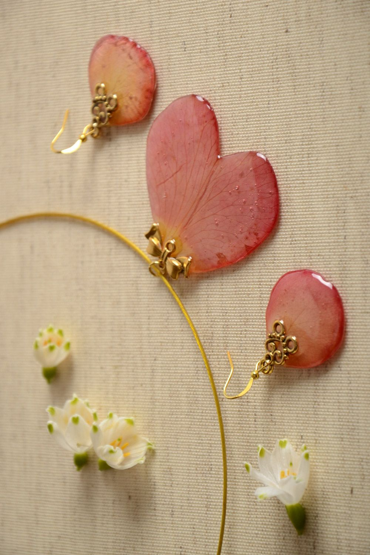 b2fa87ef47165b Handmade epoxy resin jewelry set 2 items botanical on Storenvy
