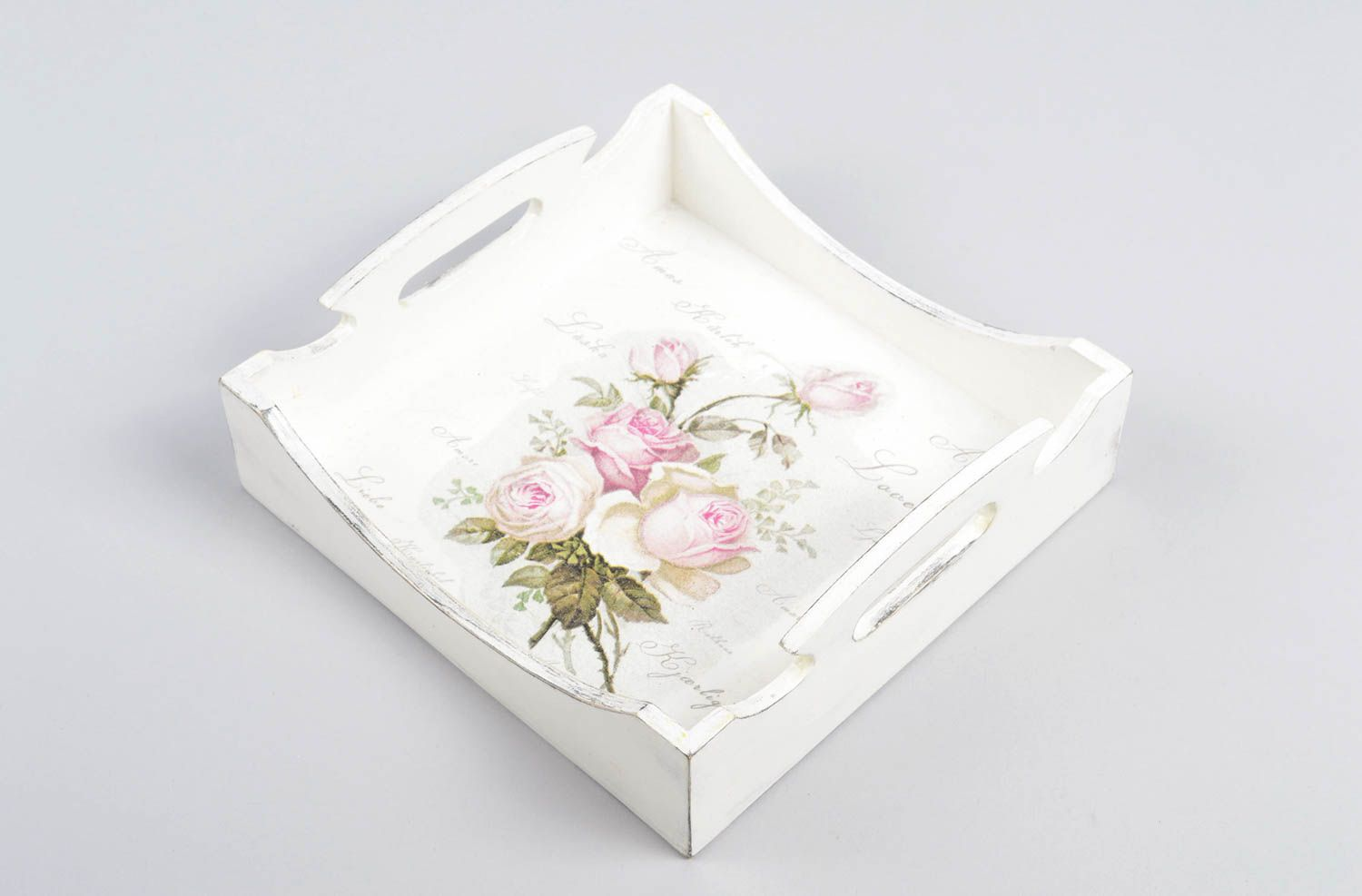 Beautiful handmade wooden tray decoupage ideas sold by WarmHomeGoods