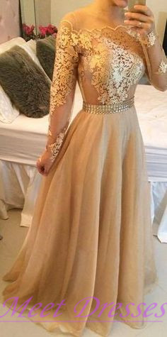 Gold chiffon evening dresses