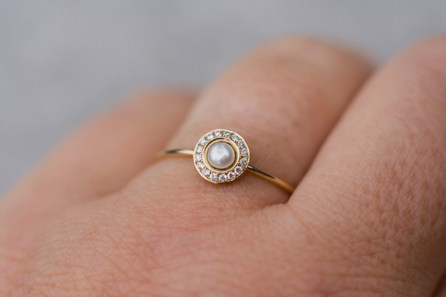 White pearl wedding ring with diamonds in 14k gold, pearl engagement ...