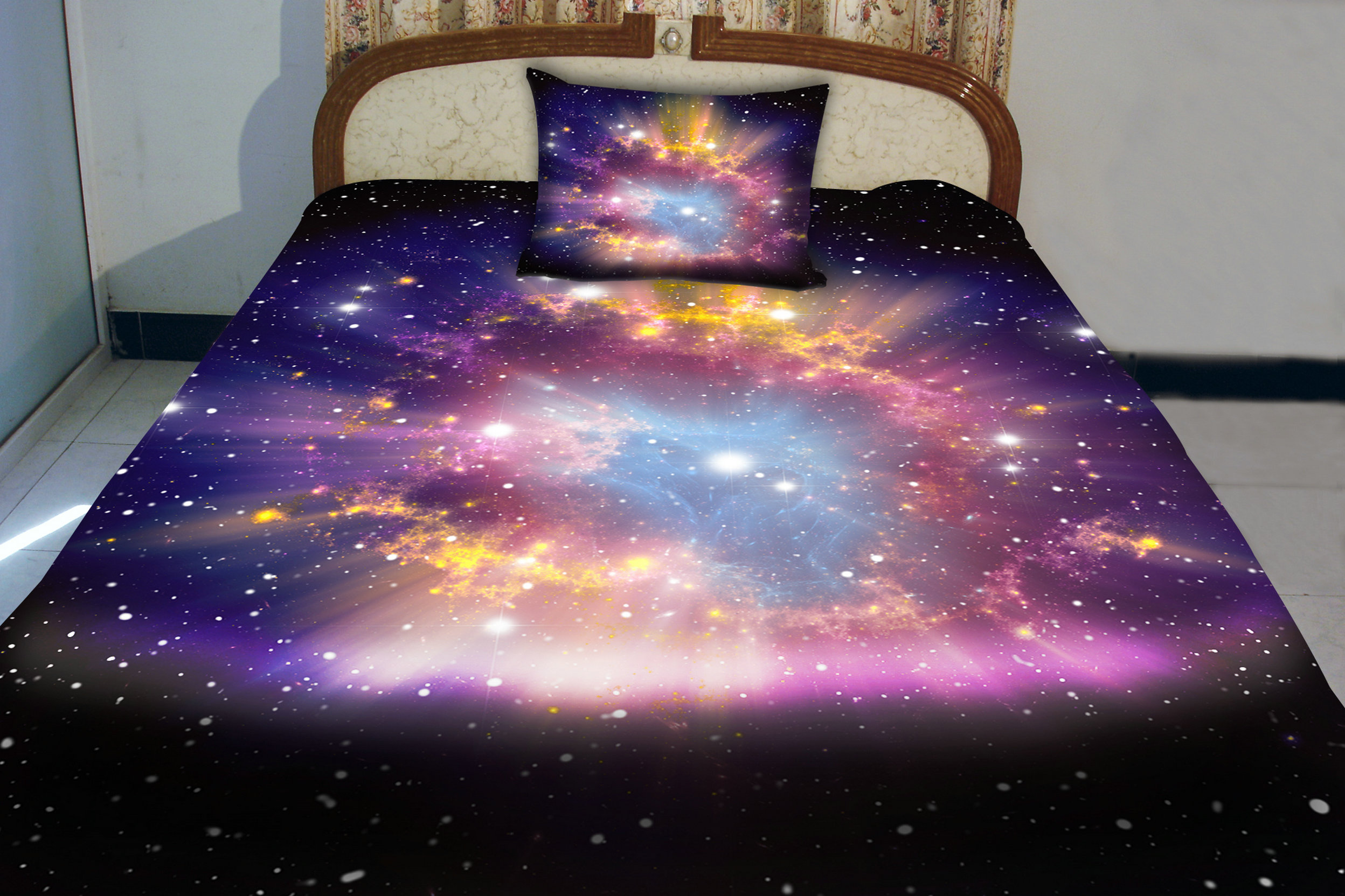 Anlye Dorm Bedding Of Diy Home Decor Set 2 Sides Printing Nebula Quilt Duvet Covers Nebula Bed Linen Sheets With 2 Matching Nebula Pillow Covers