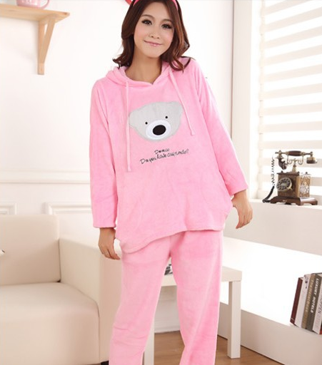 56091cf85 Women's coral fleece nighty sleepwear cute bear pattern autumn ...