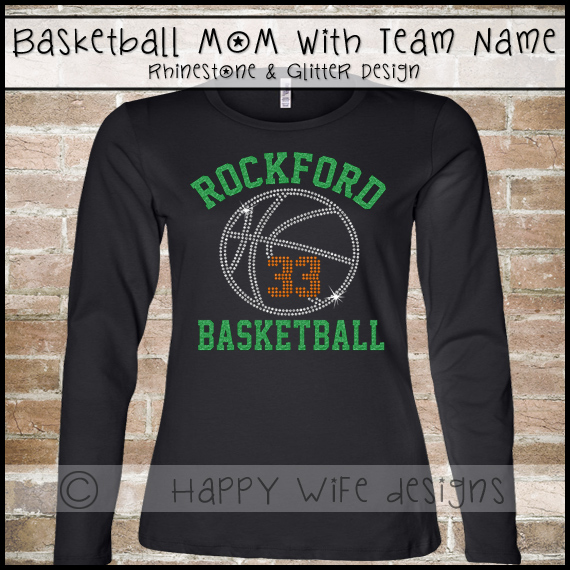d787b233b Basketball Mom Shirt with Rhinestone and Glitter Team Name and Number Design