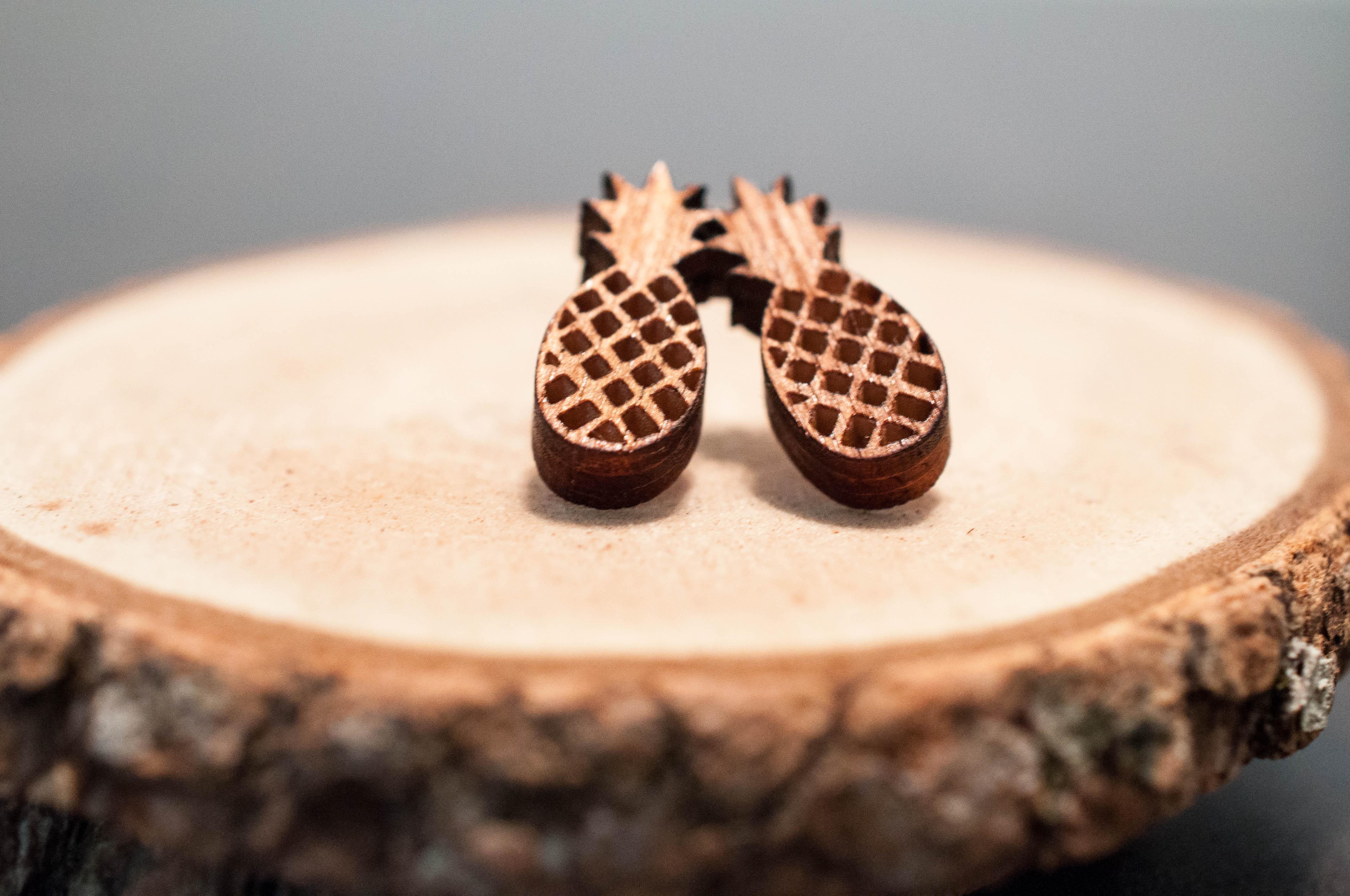 Laser Cut Pineapple Wood Earrings | Fruit Earrings | Unisex earrings from  SimplistiCreations