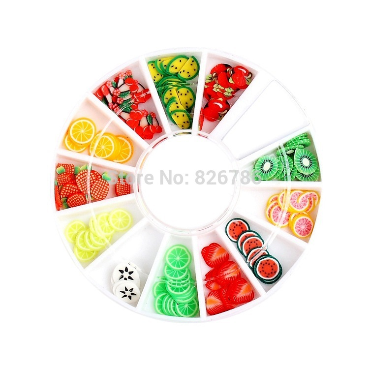 DIY Nail Art wheel Decorations Fruit Slices 3D Polymer Clay Tiny ...