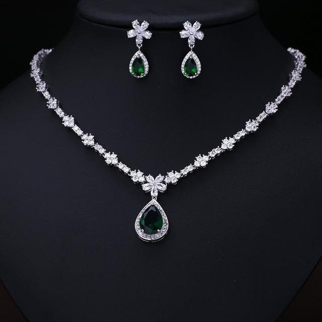 Cz Wedding Sets.Green White Cz Wedding Set Sold By Luxury Fashion